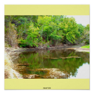 texas hill country lake poster