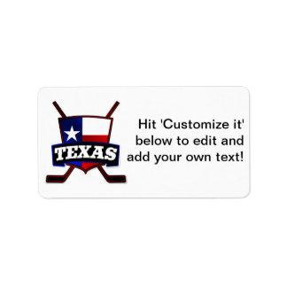 Texas Hockey Flag Logo Address Label