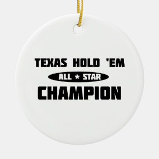 Texas Hold 'Em Champion Double-Sided Ceramic Round Christmas Ornament