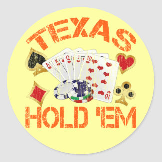 TEXAS HOLD 'EM - DISTRESSED CLASSIC ROUND STICKER
