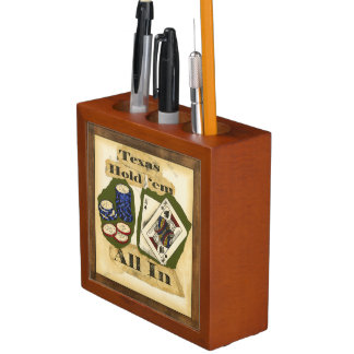 Texas Hold 'Em Hand with King and Ace Pencil Holder