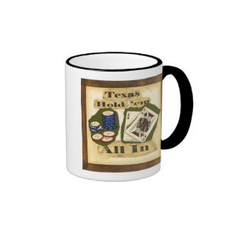 Texas Hold 'Em Hand with King and Ace Coffee Mugs