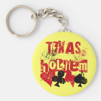 TEXAS HOLD'EM - DISTRESSED AND PAINT SPLATTER KEYCHAIN