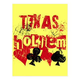 TEXAS HOLD'EM - DISTRESSED AND PAINT SPLATTER POSTCARD