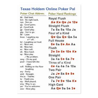 Texas Holdem Online Poker Pal Large Business Cards (Pack Of 100)