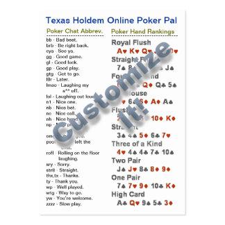 Texas Holdem Online Poker Pal Wallet Card Large Business Cards (Pack Of 100)