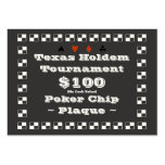Texas Holdem Poker Chip Plaque $100 (100ct) Business Cards