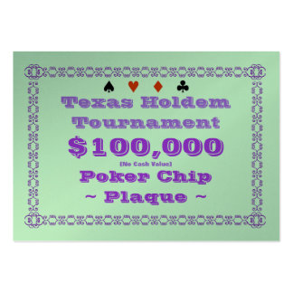 Texas Holdem Poker Chip Plaque $100k (100ct) Large Business Cards (Pack Of 100)