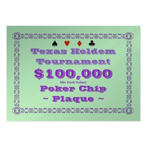 Texas Holdem Poker Chip Plaque $100k (100ct) Business Card Templates