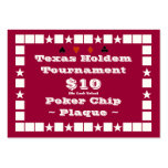 Texas Holdem Poker Chip Plaque $10 (100ct) Business Card Template