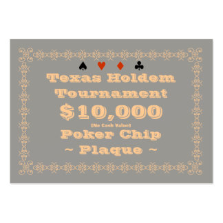 Texas Holdem Poker Chip Plaque $10k (100ct) Large Business Cards (Pack Of 100)