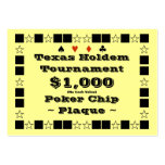 Texas Holdem Poker Chip Plaque $1k (100ct) Business Card Template