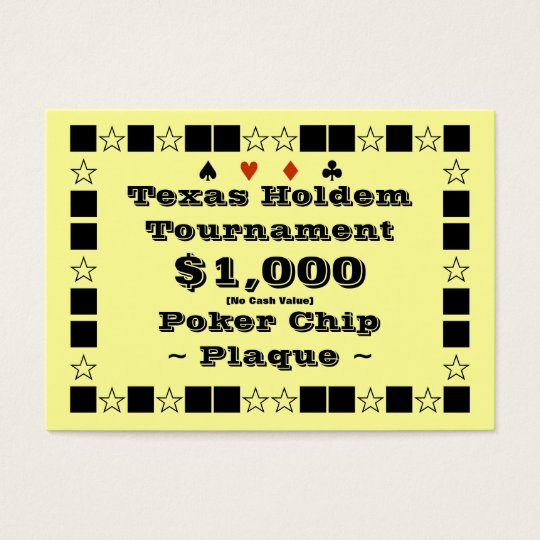Texas Holdem Poker Chip Plaque $1k (100ct) Business Card