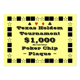 Texas Holdem Poker Chip Plaque $1k (100ct) Large Business Cards (Pack Of 100)