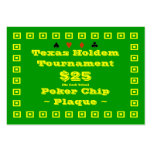 Texas Holdem Poker Chip Plaque $25 (100ct) Business Card Templates