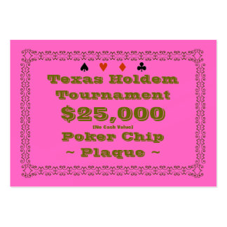Texas Holdem Poker Chip Plaque $25k (100ct) Large Business Cards (Pack Of 100)