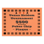 Texas Holdem Poker Chip Plaque $500 (100ct) Business Card Template