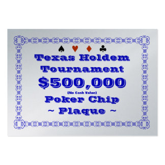 Texas Holdem Poker Chip Plaque $500k (100ct) Large Business Cards (Pack Of 100)