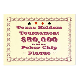 Texas Holdem Poker Chip Plaque $50k (100ct) Large Business Cards (Pack Of 100)