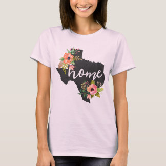 Texas Home Chalkboard Watercolor Flowers State T-Shirt