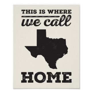 Texas Home Print -Black