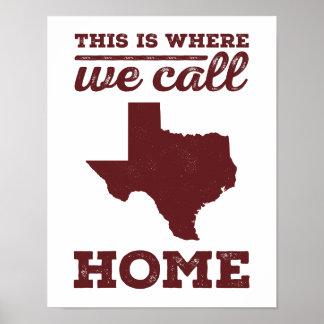 Texas Home Print -Maroon