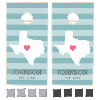 Texas Home State Love Wedding with Custom Heart Cornhole Set