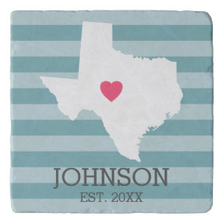 Texas Home State Love Wedding with Custom Heart Trivet