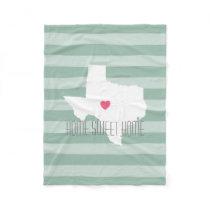 Texas Home State Love with Custom Heart Fleece Blanket