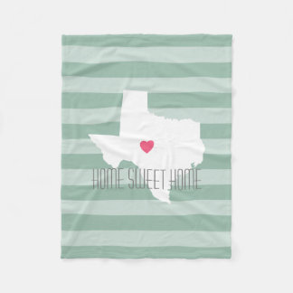 Texas Home State Love with Custom Heart Fleece Blanket