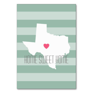 Texas Home State Love with Custom Heart Table Cards