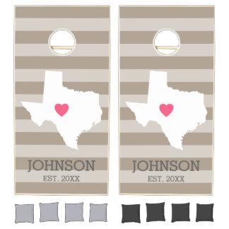 Texas Home State Love with Optional Custom Heart Cornhole Set