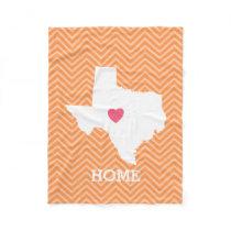 Texas Home State Love with Optional Custom Heart Fleece Blanket