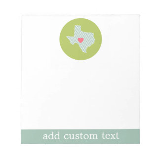 Texas Home State Love with Optional Custom Heart Notepad