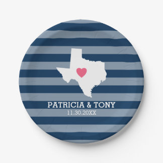 Texas Home State Love with Optional Custom Heart 7 Inch Paper Plate