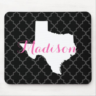 Texas Home State Quatrefoil Custom Monogram Mouse Pad