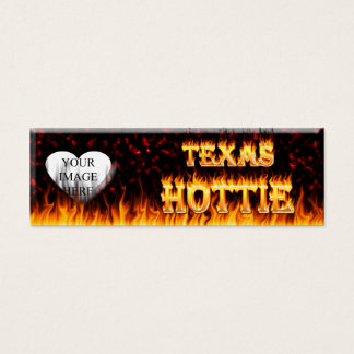 Texas Hottie fire and red marble heart. Mini Business Card