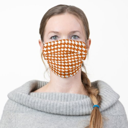 Texas Houndstooth Burnt Orange and White Cloth Face Mask