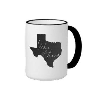 Texas I Like It Here State Silhouette Black Ringer Mug