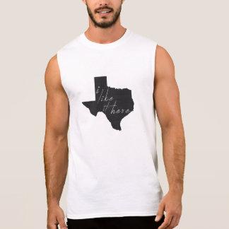 Texas I Like It Here State Silhouette Black Sleeveless Shirt