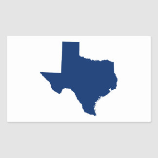 Texas in Blue Rectangular Sticker