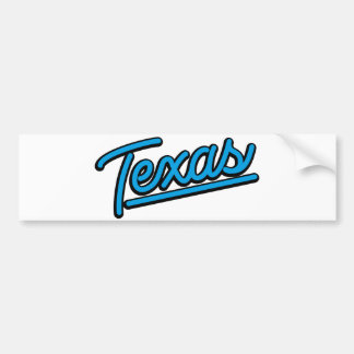 Texas in cyan car bumper sticker