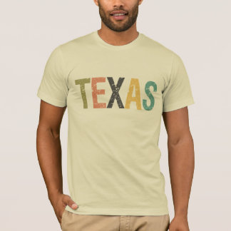 Texas in faded retro color lettering T-Shirt