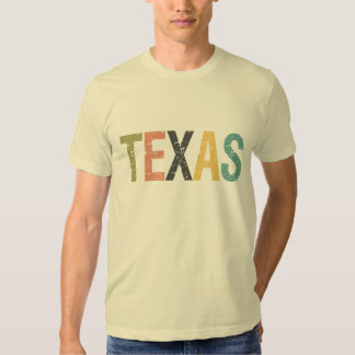 Texas in faded retro color lettering t shirts