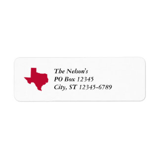 Texas in Red Return Address Label