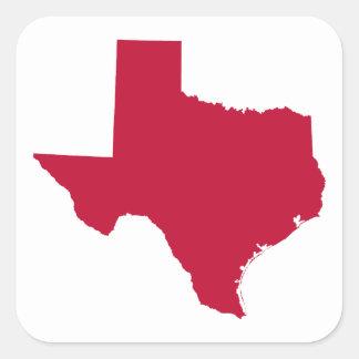 Texas in Red Square Sticker