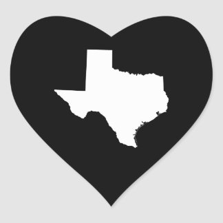 Texas in White and Black Heart Sticker