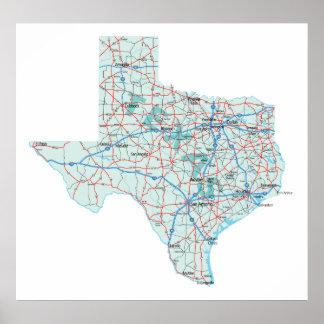 Texas Interstate Map Print