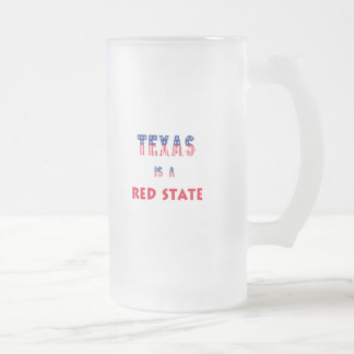 Texas is a Red State Frosted Glass Beer Mug