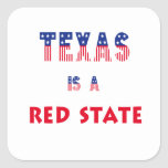 Texas is a Red State Square Stickers